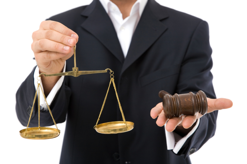 law concept in business with gavel and scales of justice
